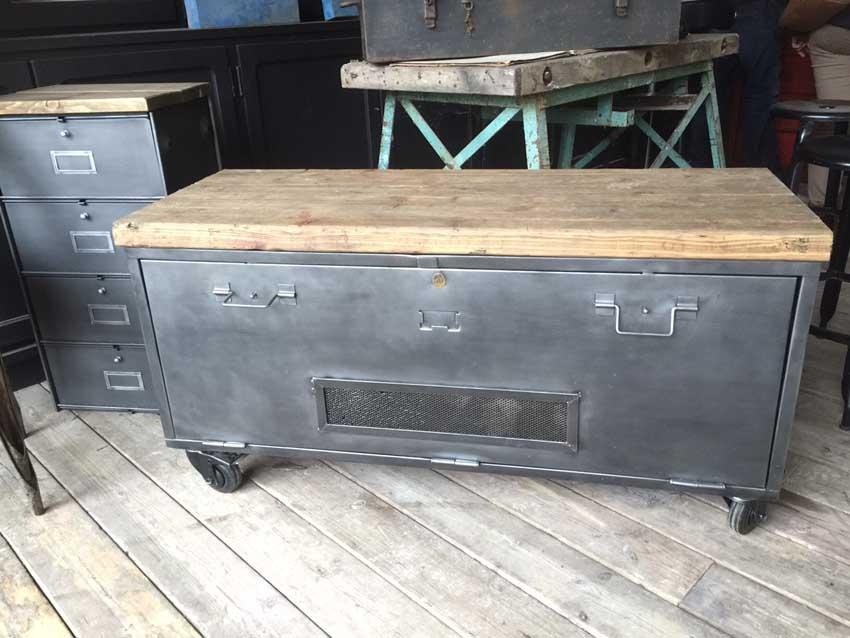 Meubles tv industriel bois et m tal l 39 or du temps - Roulettes metal industriel ...