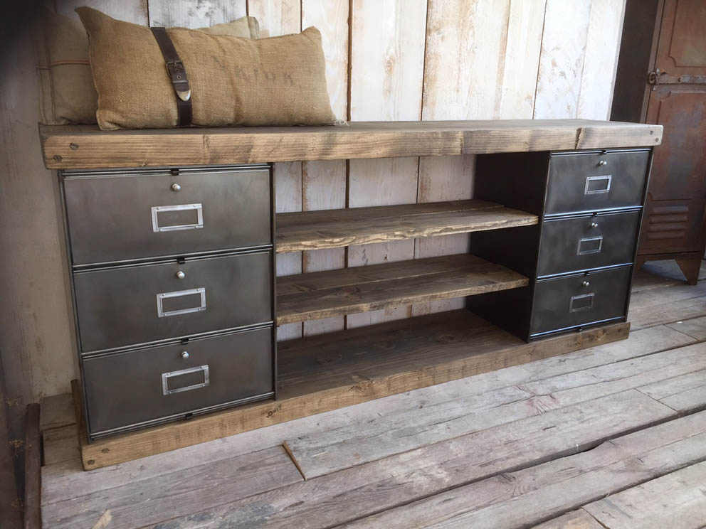 meubles tv industriel bois et m tal l 39 or du temps. Black Bedroom Furniture Sets. Home Design Ideas
