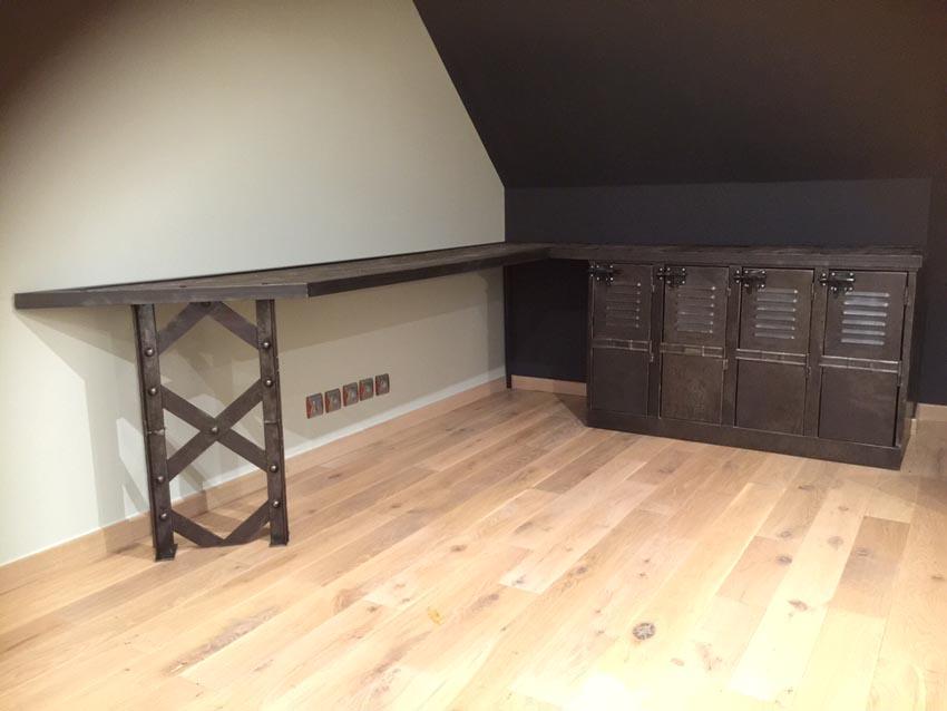 meubles tv industriel bois et m tal l 39 or du temps. Black Bedroom Furniture Sets. Home Design Ideas
