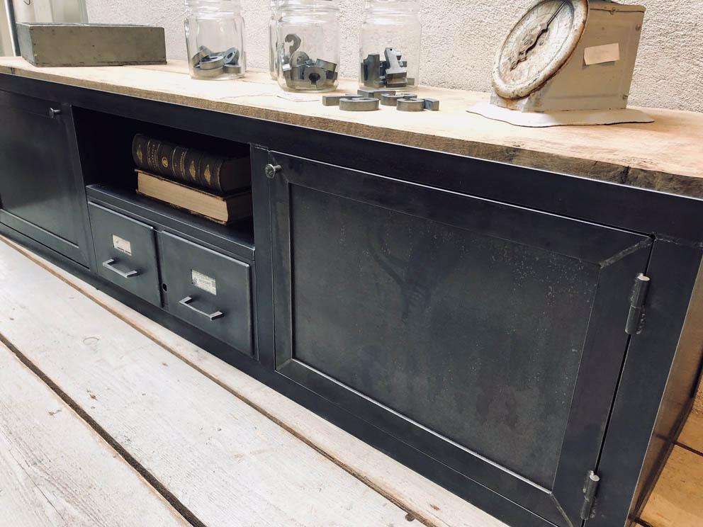Meubles TV industriel bois et métal - L\'or du Temps