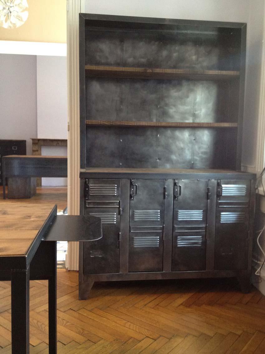 Meubles de rangement industriel m tal bois - Achat mobilier industriel ...