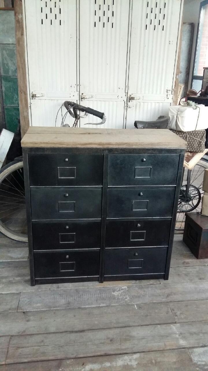 Meubles de rangement industriel m tal bois for Petit meuble metal