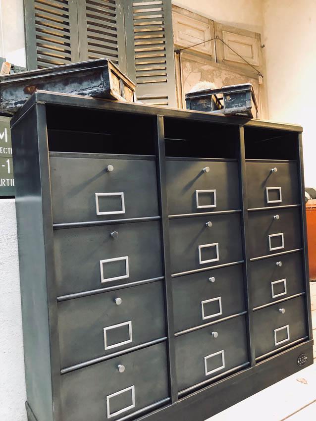 Meubles de rangement industriel m tal bois for Achat meuble industriel