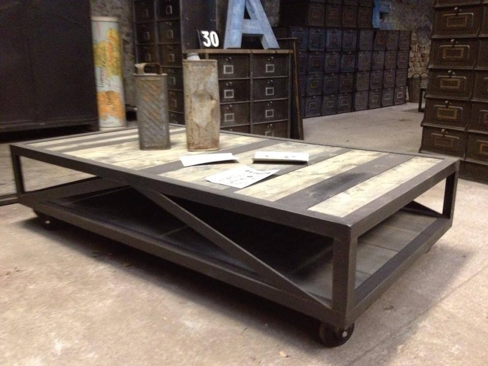 Table basse 01 - Table basse bois metal industriel ...