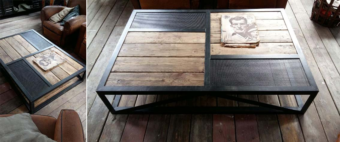 Tables basses mobilier industriel l 39 or du temps - Table basse planche bois ...
