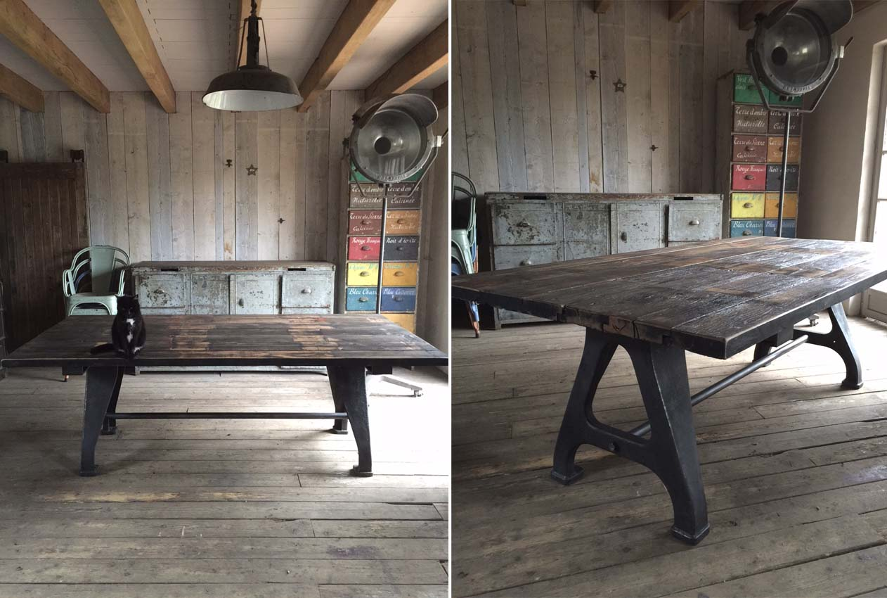 Table industrielle carr e fonte et ch ne pictures to pin - Faire une table industrielle ...