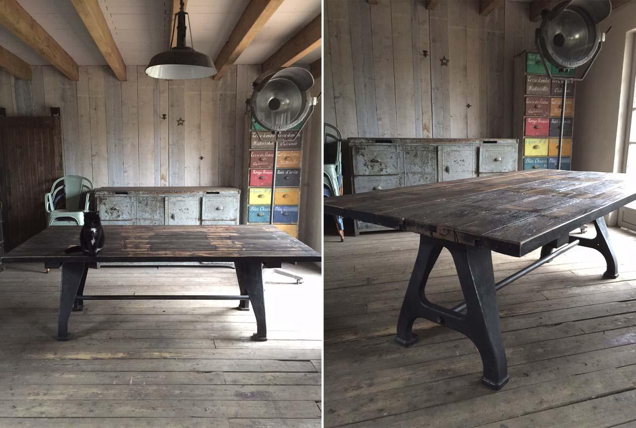 Tables industrielles l 39 or du temps mobilier industriel - Table de nuit industrielle ...