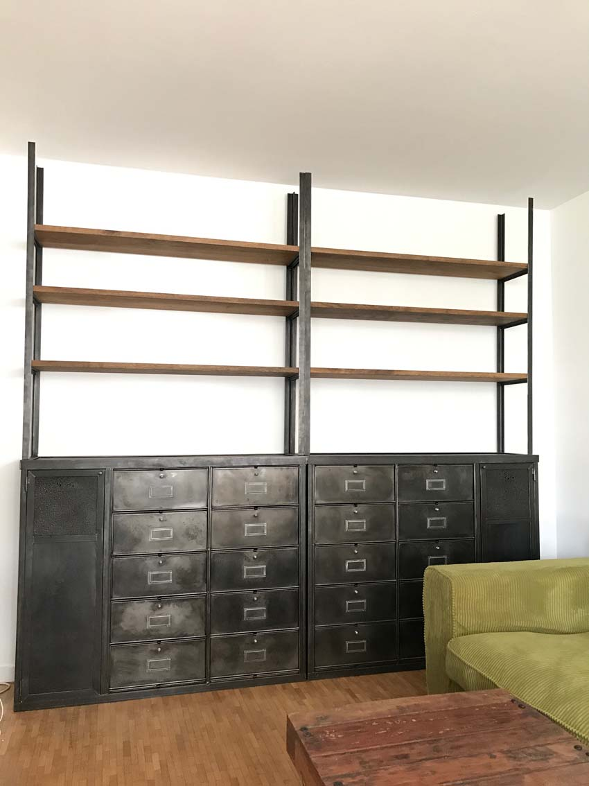 Petit Meuble De Separation meubles de rangement industriel métal bois